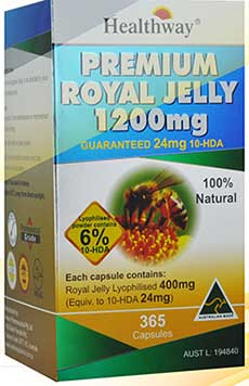 Healthway Premium Royal Jelly 6% 10-HDA 24mg. Lyophilised 400mg. 1200mg. 365cap นมผึ้งเกรดพรีเมี่ยม