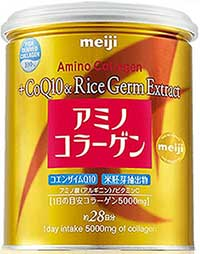 Meiji Amino Collagen Premium CoQ10 & Rice Germ Extract  ขนาด200g. สีทอง