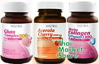 รูปภาพของ ชุด3ขวด Vistra Gluta 800mg.30tab+Vistra Acerola Cherry 45tab+Vistra Collagen TriPeptide 1300mg. Plus 30tab