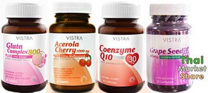 รูปภาพของ Vistra Gluta 800mg. 30tab+Vistra Acerrola Cherry 45เม็ด+Vistra Q10 30mg. 30cap+Vistra Grape Seed 30cap
