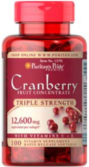 รูปภาพของ  Puritan s Pride Cranberry Fruit Concentrate with C & E 12600mg 100 Softgels